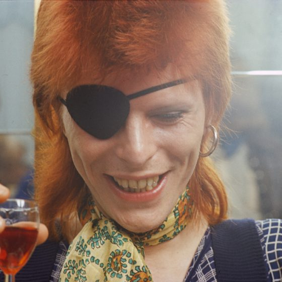 David Bowie with eyepatch, in Holland to record Rebel Rebel in the TopPop studios in Hilversum, caption at the Amstel Hotel, Amsterdam, Gijsbert Hanekroot